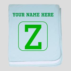 Custom Green Block Letter Z baby blanket