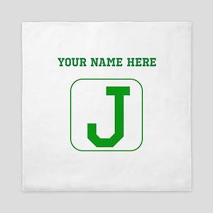 Custom Green Block Letter J Queen Duvet