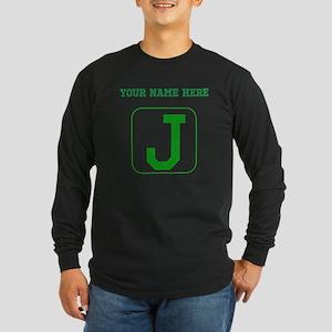 Custom Green Block Letter J Long Sleeve T-Shirt
