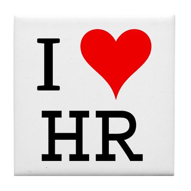 I Love HR Tile Coaster by bluegreenred