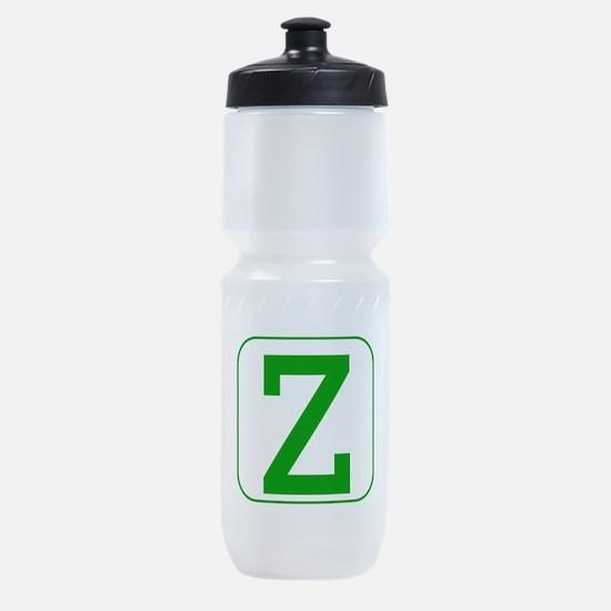 Green Block Letter Z Sports Bottle