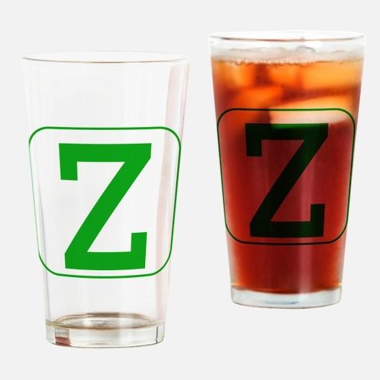 Green Block Letter Z Drinking Glass
