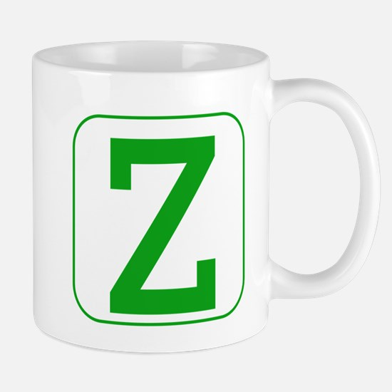 Green Block Letter Z Mugs