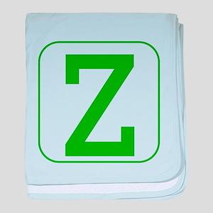 Green Block Letter Z baby blanket