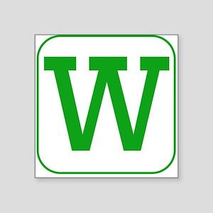 Green Block Letter W Sticker