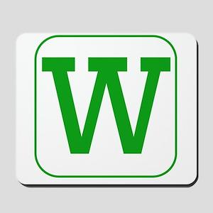 Green Block Letter W Mousepad