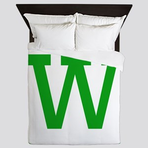 Green Block Letter W Queen Duvet