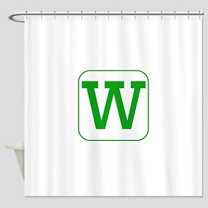 Green Block Letter W Shower Curtain
