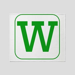 Green Block Letter W Throw Blanket
