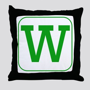 Green Block Letter W Throw Pillow