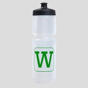 Green Block Letter W Sports Bottle