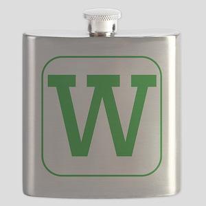 Green Block Letter W Flask
