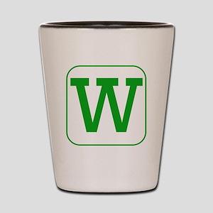 Green Block Letter W Shot Glass
