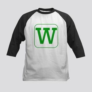 Green Block Letter W Baseball Jersey