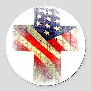 Flag cross Round Car Magnet