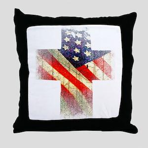 Flag cross Throw Pillow