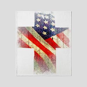 Flag cross Throw Blanket