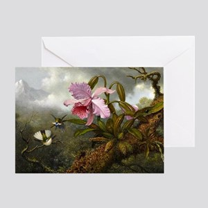 Cattleya Orchid, Two Hummingbirds an Greeting Card