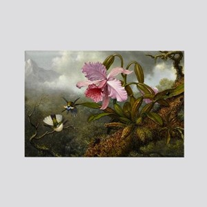 Cattleya Orchid, Two Hummingbirds Rectangle Magnet