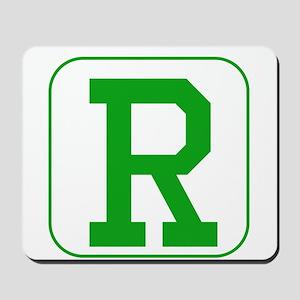 Green Block Letter R Mousepad