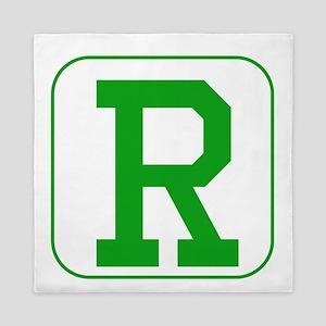 Green Block Letter R Queen Duvet