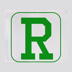 Green Block Letter R Throw Blanket