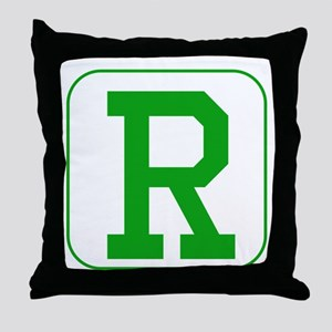 Green Block Letter R Throw Pillow