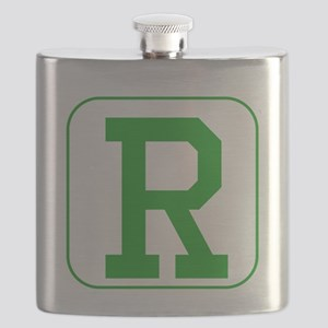 Green Block Letter R Flask