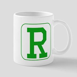 Green Block Letter R Mugs