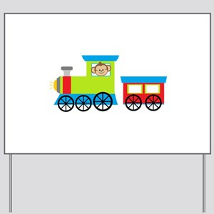 Monkey Driving a Train Yard Sign