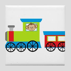 Monkey Driving a Train Tile Coaster