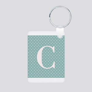 C Initial on Light Blue Polka Dots Keychains