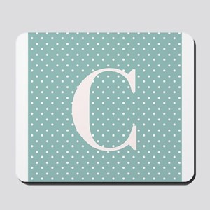C Initial on Light Blue Polka Dots Mousepad