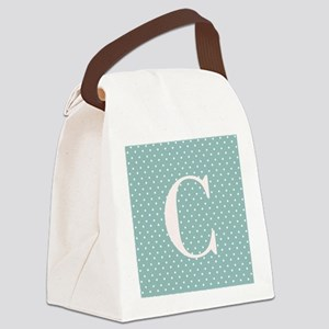 C Initial on Light Blue Polka Dots Canvas Lunch Ba