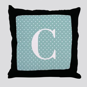 C Initial on Light Blue Polka Dots Throw Pillow