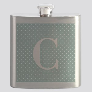 C Initial on Light Blue Polka Dots Flask