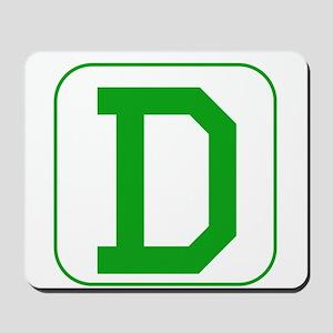 Green Block Letter D Mousepad