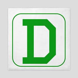 Green Block Letter D Queen Duvet