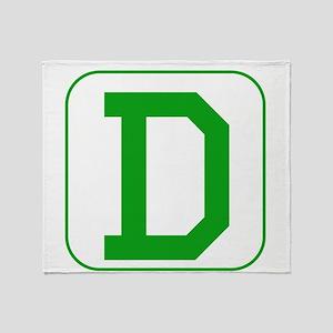 Green Block Letter D Throw Blanket