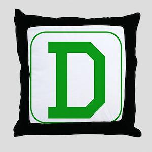 Green Block Letter D Throw Pillow