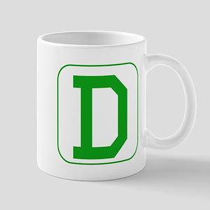 Green Block Letter D Mugs