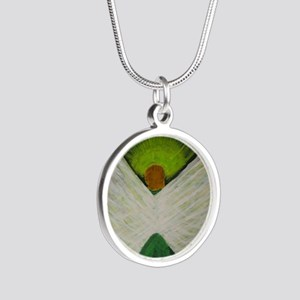 Green Angel White Wings Silver Round Necklace