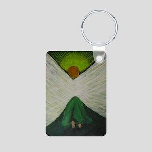 Green Angel White Wings Aluminum Photo Keychain