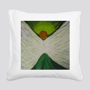 Green Angel White Wings Square Canvas Pillow