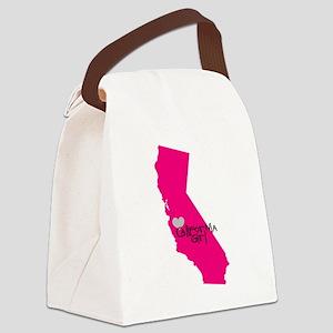 CALIFORNIA GIRL w HEART Canvas Lunch Bag