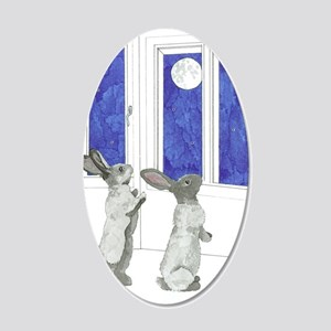 Daily Doodle 4 Rabbit Moon 20x12 Oval Wall Decal