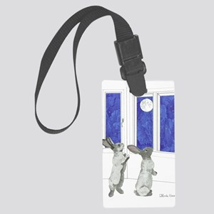 Daily Doodle 4 Rabbit Moon Large Luggage Tag