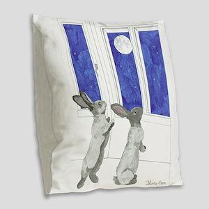 Daily Doodle 4 Rabbit Moon Burlap Throw Pillow