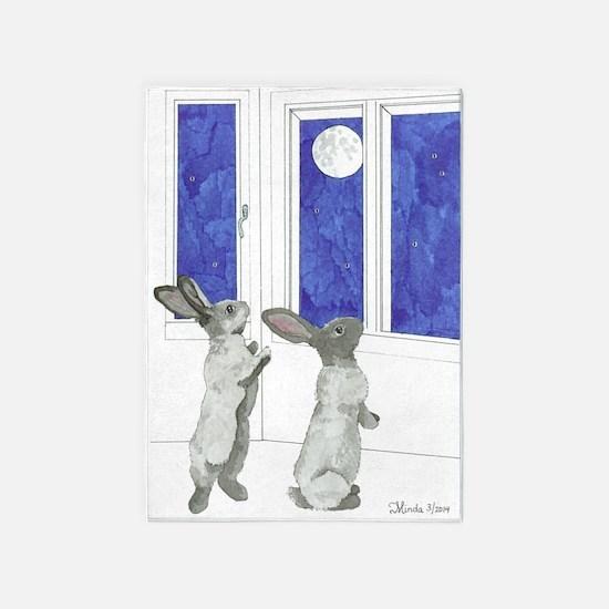 Daily Doodle 4 Rabbit Moon 5'x7'area Rug
