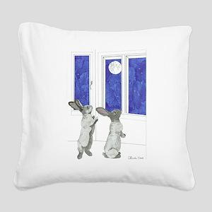 Daily Doodle 4 Rabbit Moon Square Canvas Pillow